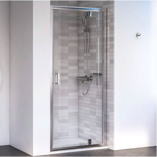 Aqualux Edge 6 Pivot Shower Door Polished Silver 900 X 1900Mm (3967P) - Image 1