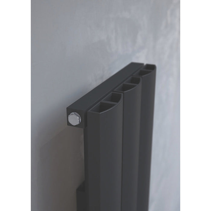 Kudox Vertical Radiator Alulite Arc Black 2396BTU 702W 1800x280mm 1.8 Ltr - Image 4