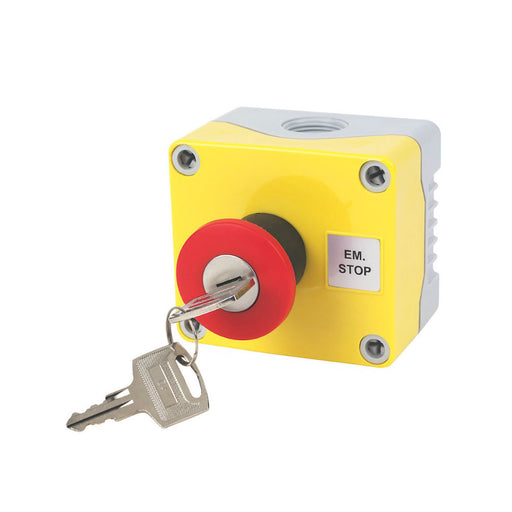 Hylec 1-Way A-Lock Mushroom Head Stop Push Button With Key Reset (41654) - Image 1