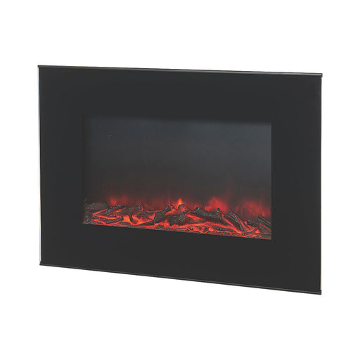 1.9KW FLAT GLASS WALL FIRE ERP BLACK 56X13X46CM - Image 1