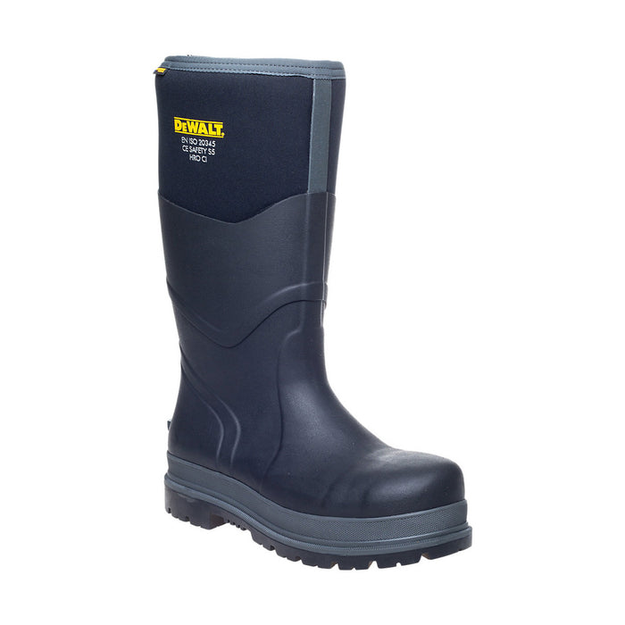 DeWalt Mens Safety Wellington Boots Steel Cap Black Rubber Oil-Repellent UK 6 - Image 1