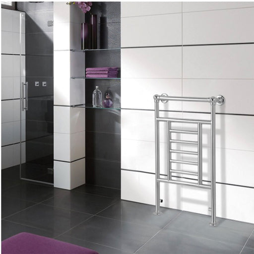 Blyss Traditional Bathroom Chrome 198W Towel Warmer Radiator (H)914mm (W)534mm - Image 1