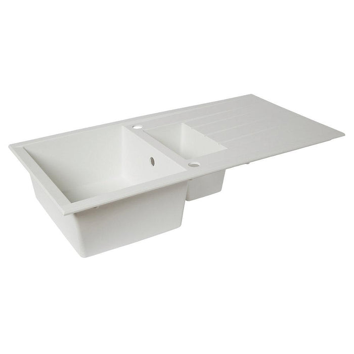Plastic & Resin Kitchen Sink & Drainer White 1.5 Bowl Reversible 1000 x 500mm - Image 1