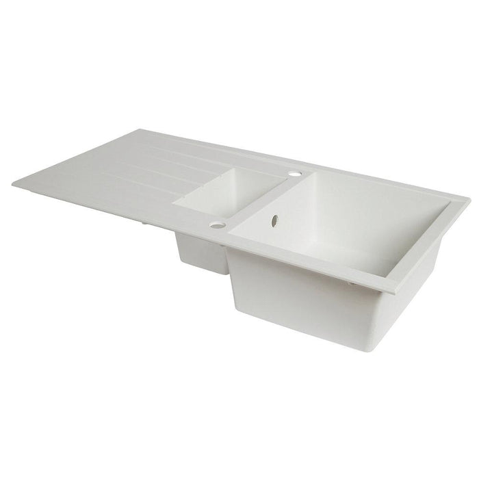 Plastic & Resin Kitchen Sink & Drainer White 1.5 Bowl Reversible 1000 x 500mm - Image 3