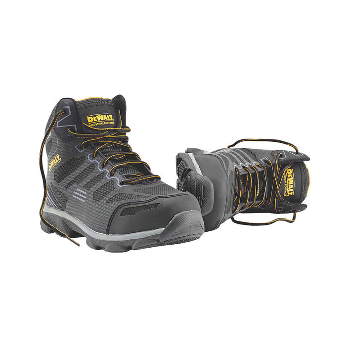 DeWalt Safety Boots Crossfire Black Grey Size UK 8 Wide Fit - Image 1