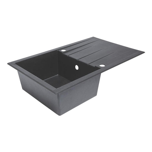 Plastic & Resin Kitchen Sink & Drainer Black 1 Bowl Reversible 800 x 500mm - Image 1