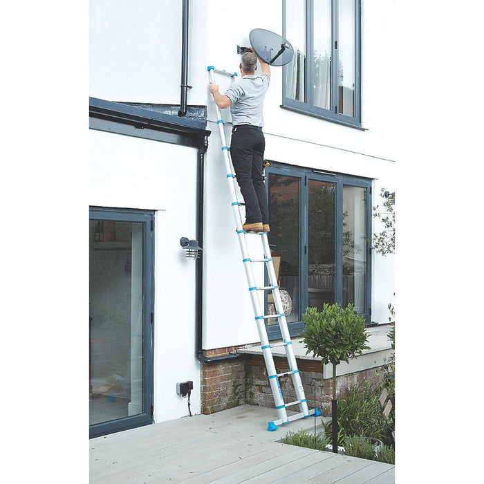3.8m Telescopic Extension Ladder Multi Purpose Lightweight Aluminium - Image 4