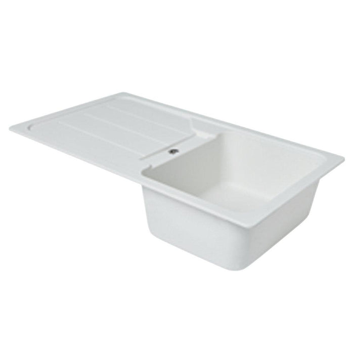 Granite Composite Kitchen Sink & Drainer White 1 Bowl Reversible 860 x 500mm - Image 3