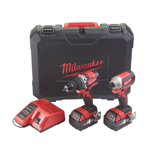 Milwaukee M18CBLPP2A-402C 2 x 4.0Ah Cordless Combi Drill&Impact Driver Twin Pack - Image 1
