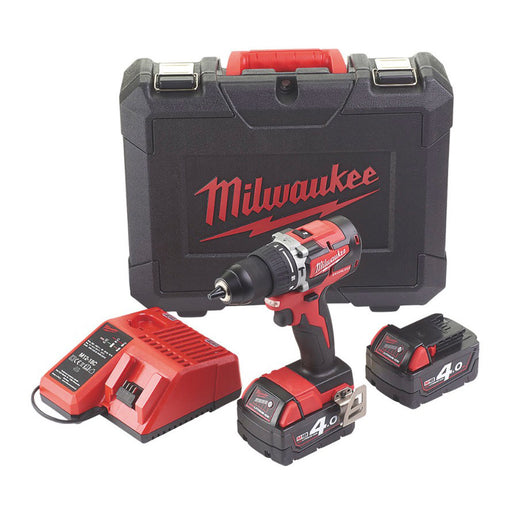 Milwaukee M18CBLPD-402C Cordless Combi Hammer Drill & Charger 18V 2 x 4.0Ah - Image 1