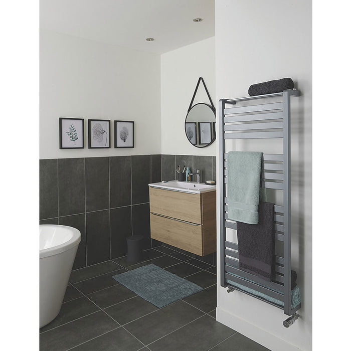 Goodhome Loreto Towel Warmer Vertical Grey Silver 1300 x 500mm - Image 5