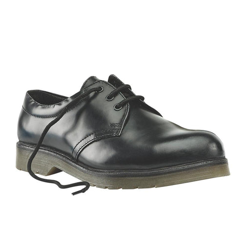 Leather Sterling Steel Cushion Sole Safety Shoes Black Size 10 UK - Image 1
