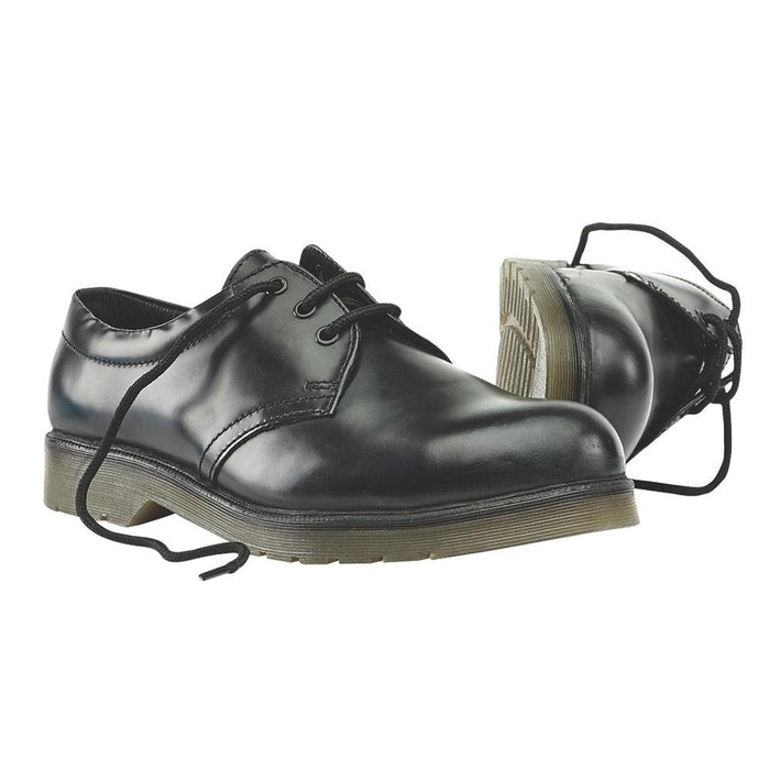 Leather Sterling Steel Cushion Sole Safety Shoes Black Size 10 UK - Image 2