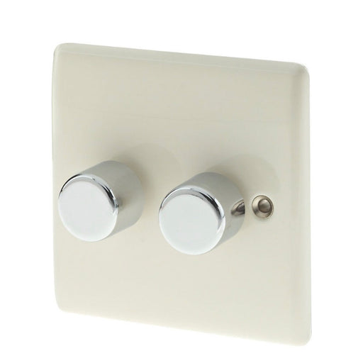 British General 2-Gang 2-Way Push Dimmer Switch 400W Cream (77928) - Image 1