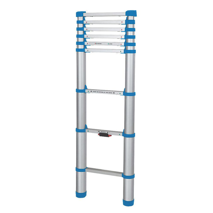 Mac Allister Aluminium Telescopic Extension Ladder 8 Tread 263cm - Image 1