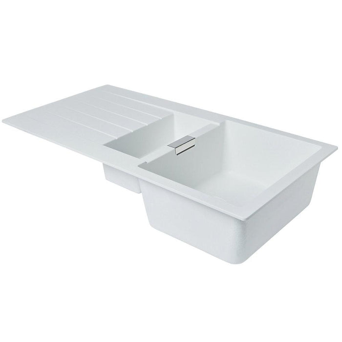 Granite Composite Premium Kitchen Sink  White 1.5 Bowl Reversible 1000 x 500mm - Image 3