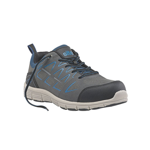 Site Mens Safety Trainers Crater Grey Steel Toe Cap Wide Fit UK 9 - Image 1
