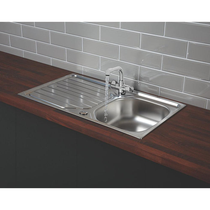 Franke Reno / Danube 18 / 10 Stainless Steel Inset Sink & Mixer Tap 1 Bowl 860 x 500mm - Image 4