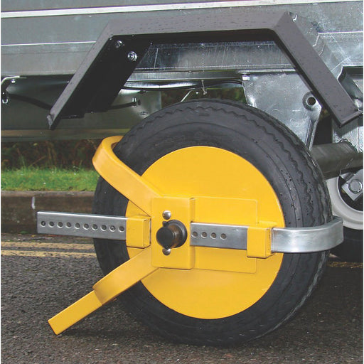"Maypole Universal Trailer Wheel Clamp 8-10"" Yellow - Image 1"