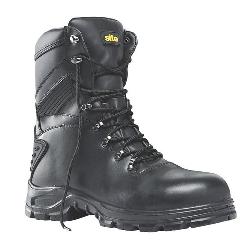 Site Flint Hi-Top Waterproof Safety Boots Black Leather Size 7 UK - Image 1