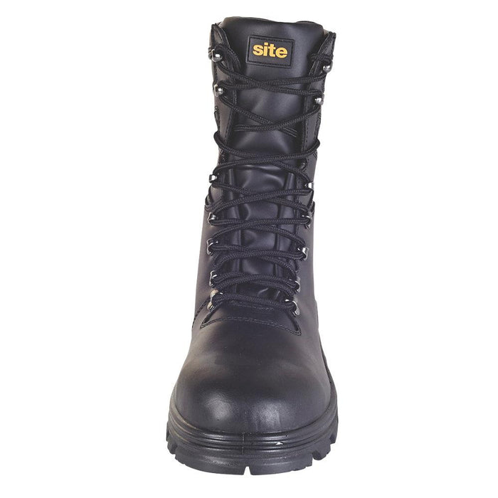 43c8f4a250a Site Flint Hi-Top Waterproof Safety Boots Black Leather Size 7 UK