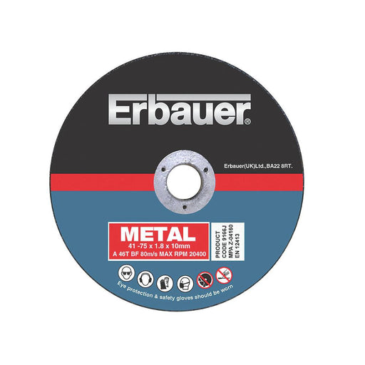 "Erbauer Metal Cutting Discs 3"" (3mm) x 2 x  10 Pack - Image 1"