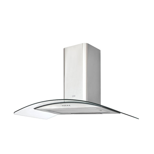 Cooke & Lewis Curved Glass Chimney Hood 900mm CLCGS90 Stainless Steel - Image 1