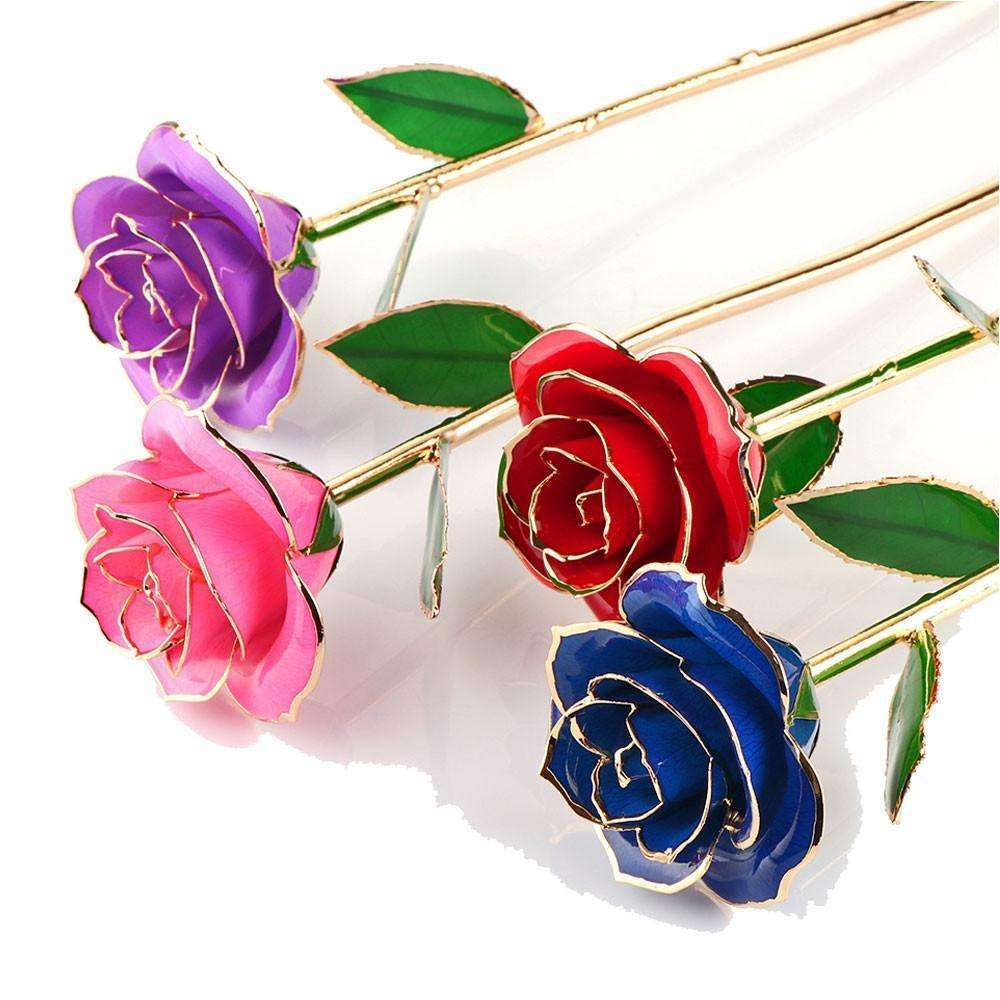 24k Gold Plated Rose With Stand 2018 Valentines Day Gift