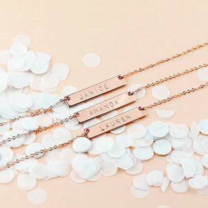 Personalized 16 Karat Bar Necklace