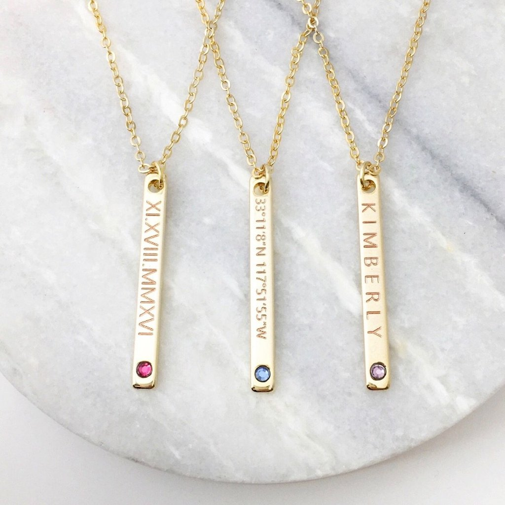 Personalized Drop Down Birthstone Necklace