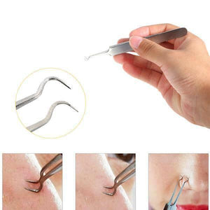 Blackhead Acne Clip Stainless Steel Tweezer Facial Remover Extractor