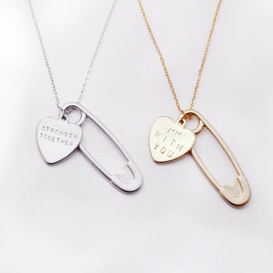 Personalized Safety Pin Heart Necklace