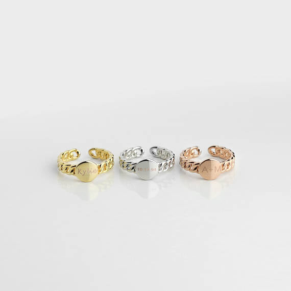 Dainty Personalized Disc Ring