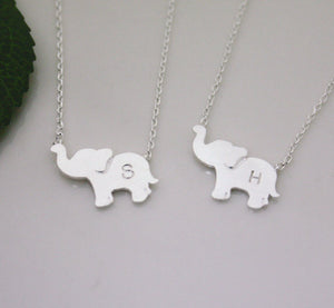 16k Elephant Initial Necklace