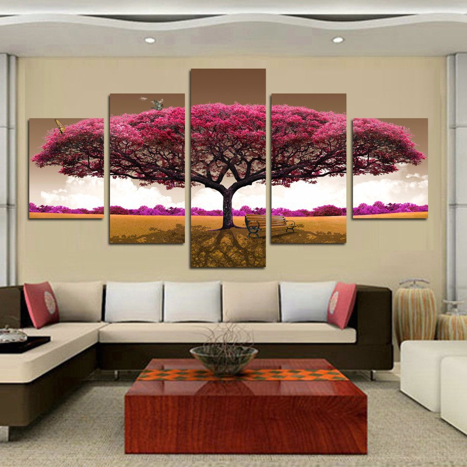 Pink Tree Five Piece Canvas