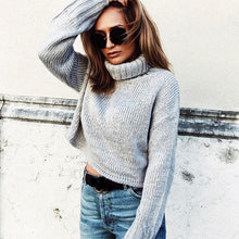 Grey Knit Pullover Turtleneck