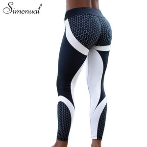 Blue White Textured Active Leggings