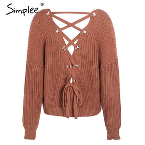 Backless Knit Lace Up Sweater