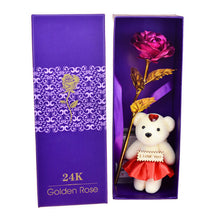 24K Gold Rose With Teddy Bear