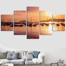 Boat Sunset Five Piece Canvas