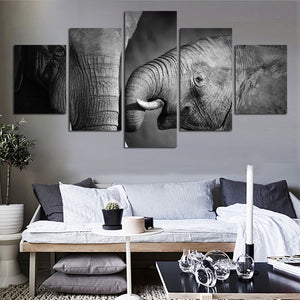 Black & White Elephants Five Piece Canvas
