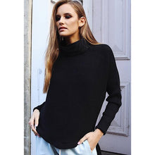 Cowl Turtleneck Ribbed Sweater