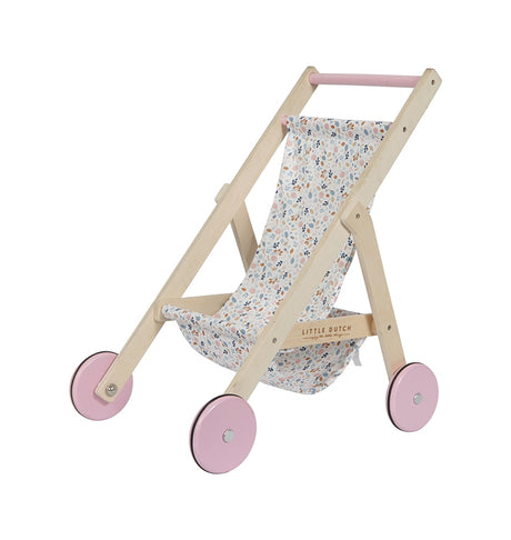 Wooden Doll Buggy - Spring Flowers