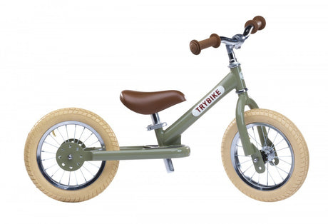 Trybike Steel- Balance Bike Vintage Green (PREORDER DELIVERY DUE NOV 9TH)