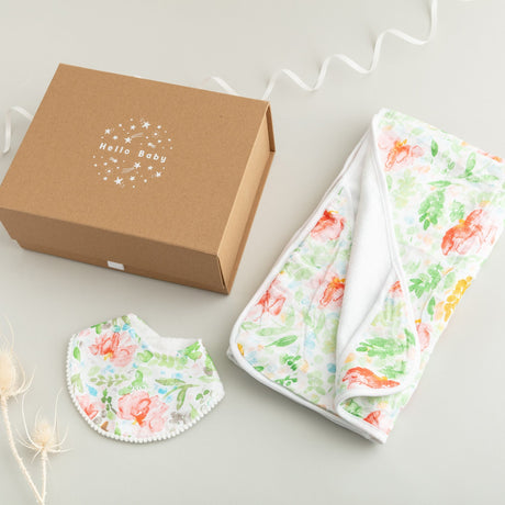 Summer Bloom Hooded Towel and Bib Newborn Gift Set (and Card)