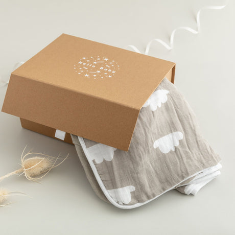 Grey Cloud Towel and Bib Newborn Gift Set (and newborn card)