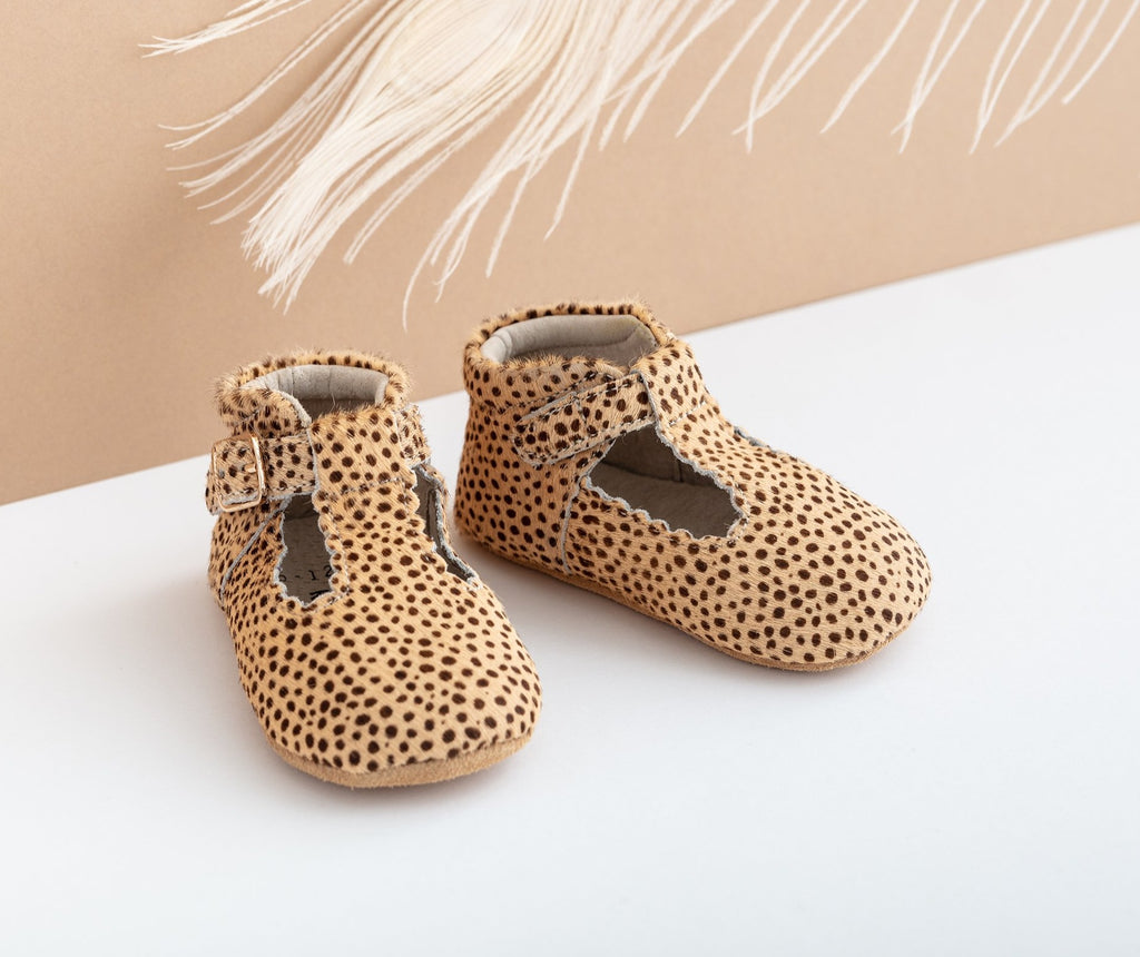 Leopard Suede Tbars – Soft Sole