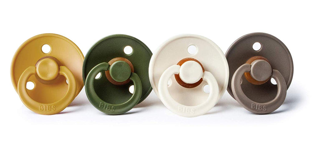 BIBS Pacifier - Mustard, Hunter Green ,Ivory & Dark Oak ( Size 2) - 4 pack