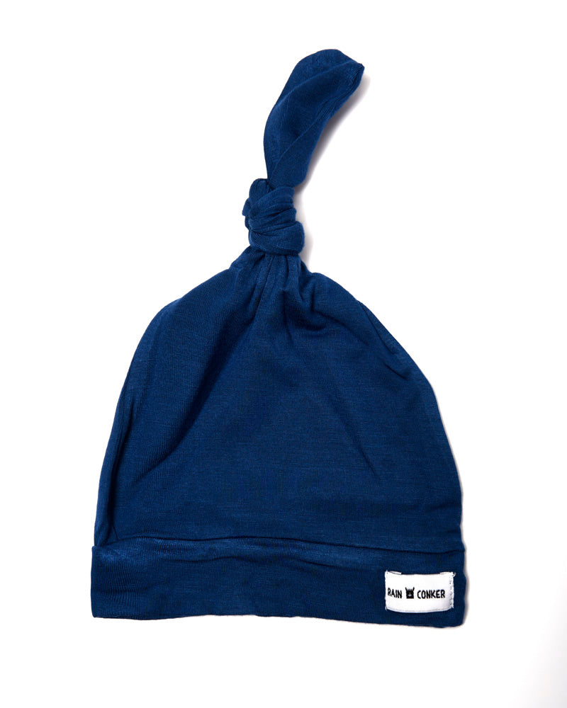 Top Knot Stretchy Hat - Indigo