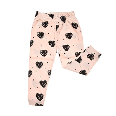 ORGANIC COTTONS BLUSH MONSTERRA PRINT LEGGINGS